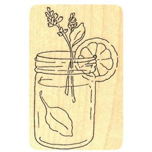 """{Single Count} Unique & Custom (1 1/2"""" by 2 1/4"""" Inches) """"Summertime, Refreshing Lemon Water"""" Rectangle Shaped Genuine Wood Mounted Rubber Inking Stamp"""