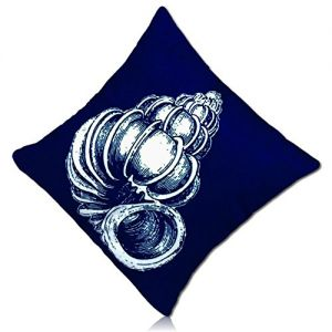 """Handmade {18"""" Inch} 1 Single Mid-Size, Hidden Zipper Removable """"Throw"""" Pillowcase Protector Cover Made of 200TC Smooth Velvet w/Two Sided Coastal Beach House Ocean Sea Shell Design {Blue & White}"""