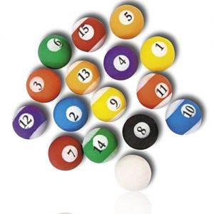 Custom & Unique {49mm} 16 Lot Pack, Big Size Super High Bouncy Balls, Made of Grade A+ Rebound Rubber w/ Recess Time Vibrant Bright Novelty Billiard Striped & Solids Pool Room Party Style (Multicolor)