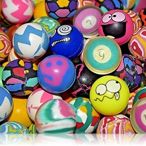Custom & Unique {27mm} 6000 Bulk Pack, Mid-Size Super High Bouncy Balls, Made of Grade A+ Rebound Rubber w/ Vibrant Camo, Swirl, Checkered, Zigzag, Solid, Numbered, & Wacky Faces Design (Multicolor)