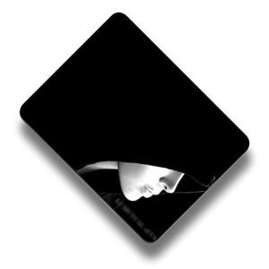 """Custom & Decorative {8.5"""" x 7"""" Inch} 1 Single, Mid-Size """"Basic"""" Flexible Non-Slip Mousepad for Gaming, Made Of Easy-Glide Lycra Spandex w/ Hooded Woman W/ Pale Face Style [Black & White]"""
