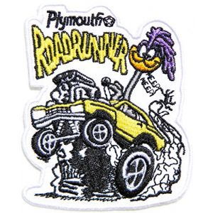 Nostalgic PLYMOUTH Road Runner Roadrunner Beep Beep Classic Car racer Logo Sign Racing Patch Iron on Applique Embroidered T shirt Jacket Gift BY SURAPAN