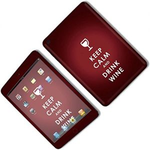 Burgundy Red {Keep Calm and Drink Wine} Front and Back Full Body Adhesive Vinyl Decal Sticker for iPad Mini 1st Generation Models A1432, A1454 and A1455 (No Air Bubbles - Removable Residue Free Skin}