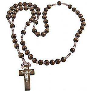 """Cool & Custom {24"""" inch w/ 12"""" Chain Hang} Single Unit of Rear View Mirror Hanging Ornament Decoration Made of Wood w/ Toned Prayer Beads Cross Crucifix Insignia Design [BMW Brown & Silver]"""