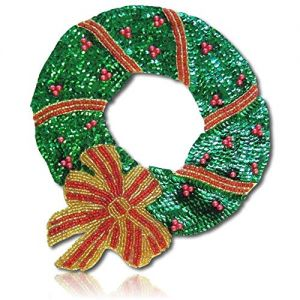 """Beautiful & Custom {11.5"""" x 9.5"""" Inch} 1 of [Sew-On & Glue-On] Embroidered Applique Patch Made of Beads & Sequins w/Winter Season Christmas Décor Wreath w/Holiday Shades Sty {Green, Brown, Yellow}"""