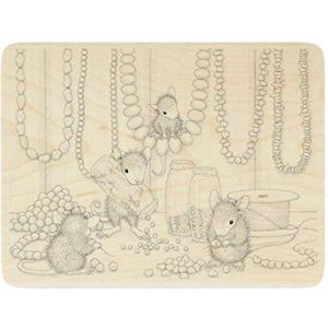 """{Single Count} Unique & Custom (5 1/4"""" by 4"""" Inches) """"Beads, Mice Making Jewelry"""" Rectangle Circle Shaped Genuine Wood Mounted Rubber Inking Stamp"""