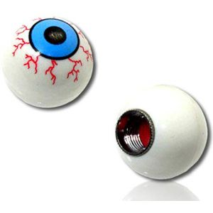 (4 Count) Custom Tire Wheel Rim Valve Stem Dust Cap Cover Seal w/Easy Grip Texture, Made of Hardened Rubber w/Round Ball Sphere Spooky Detailed Realistic Eyeball {White, Blue, Red} + Certificate
