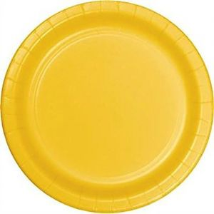 "Custom & Unique {10"" Inch} 24 Count Multi-Pack Set of Large Size Round Disposable Paper Plates w/ Single Colored Basic Simple Fun Event Birthday Party Celebration ""Bright Golden Yellow Colored"""