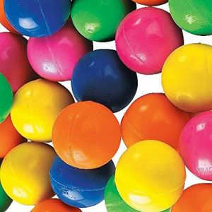 Custom & Unique {27mm} 36 Bulk Pack, Mid-Size Super High Bouncy Balls, Made of Grade A+ Rebound Rubber w/ Recess Vibrant Pattern Bright Neon Rainbow Easter Carnival Primary Prize Style (Multicolor)