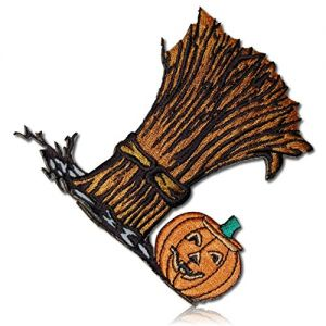 "[1 Count Single] Custom and Unique (3 1/2"" x 4"" Inch) ""Holiday"" Smiling Grinning Jack-O-Lantern Bundle Bushel Of Hay Halloween Harvest Iron On Embroidered Applique Patch {Orange, Tan, Green & Black}"