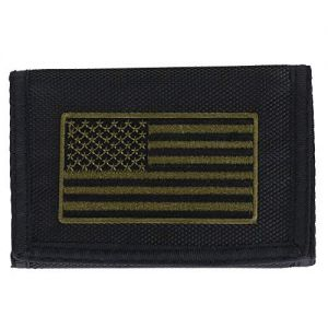 CTM Men's Nylon American Flag Trifold Wallet with Hook and Loop Closure, Black