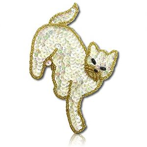 "Beautiful & Custom {3"" Inch} 1 of [Sew-On & Glue-On] Embroidered Applique Patch Made of Sequins & Beads w/Gorgeous & Scary Feline Cat w/Dark Shaded Creepy Eyes Walking Style {Gold, White, Black}"