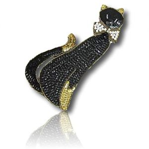 """Beautiful & Custom {7.5"""" x 3"""" Inch} 1 of [Sew-On & Glue-On] Embroidered Applique Patch Made of Sequins & Beads w/Elegant Clever & Smart Cat w/Rich Dark Shade & Pearl Bow Style {Gold, White, Black}"""
