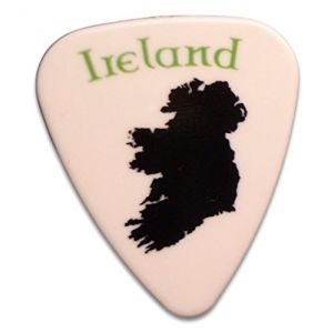 "Unique and Custom (.76 MM Thick) Medium Gauge Hard Plastic, Traditional Style""Semi Tip"" Guitar Pick w/Irish Ireland Country Shape Patriot Design {White, Black & Green - 5 Picks Multipack}"