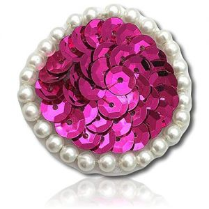 """Beautiful & Custom {1.5"""" Inch} 1 of [Sew-On & Glue-On] Embroidered Applique Patch Made of Sequins & Beads w/Cute Button Like Circular Dot w/Splendid & Luminous Pearly Round Border Style {Fuchsia}"""