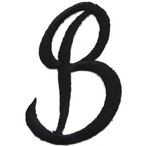 """[Single Count] Custom and Unique (2"""" Inches) """"Alphabet"""" Letter B American Script Cursive Classic Uppercase Swirled Elegant Font Style Iron On Embroidered Applique Patch {Black Color}"""