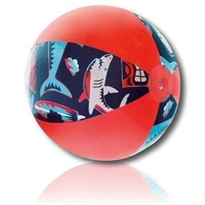 "ULTRA Durable & Custom {20"" Inch} 1 Single Mid-Size Inflatable Beach Balls for Summer Fun, Made of Lightweight FLEX-Resin Plastic w/ Nautical Striped Ocean Angry Sharks Surfboards Clouds {Multicolor}"