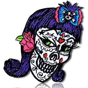 "Unique & Custom {2"" x 3"" Inch} 1 of [Glue-On, Iron-On & Sew-On] Embroidered Applique Patch Made of Natural Cotton w/Sly Sneaky Female Mexican Sugar Skull Hair Bow {White, Purple, Pink} + Certificate"