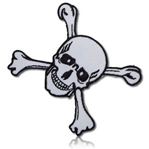 """[1 Count Single] Custom and Unique (2.2"""" x 2.5"""" Inch) """"Holiday"""" Festive Spooky Halloween Skull & Crossbones Grim Reaper Pirate Jolly Roger Design Iron On Embroidered Applique Patch {White & Black}"""