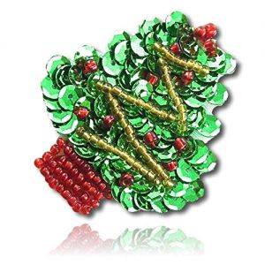"""Beautiful & Custom {2"""" Inch} 1 of [Sew-On & Glue-On] Embroidered Applique Patch Made of Beads & Sequins w/Bright Light Bulb Shade X-Mas Holiday Tree w/Beaded Stump & Beautiful Style {Red, Gold}"""