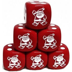 Custom & Unique {Standard Medium 16mm} 6 Ct Pack Set of 6 Sided [D6] Square Cube Shape Playing & Game Dice w/ Rounded Corner Edges w/ Christmas Disco Dancing Santa Outline Design [Red & White]