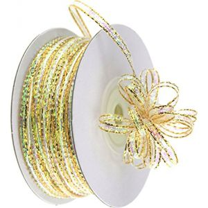 """Custom & Fancy {0.1"""" Inch Width - 50 YDS} 1 Pack of Thin Strand """"Organza"""" Ribbon for Decorations & Gift Wrap Made of Nylon w/ Modern Elegant Iridescent Accent Pull String Style [Gold & Clear]"""
