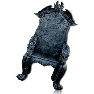 mySimpleProduct.Shop Medieval Fantasy Shadow Horned Dragon Beast King Grand Throne Furniture Chair Seat Scottish Celtic Knot Crest Statue Figurine Sculpture + Certificate