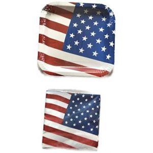 """Custom & Unique {9"""" Inch} 14 Count Multi-Pack Set of Medium Size Square Disposable Paper Plates w/ USA American Summer Labor Day BBQ Party Design """"Red, White & Blue Colored"""" w/ Matching Napkin Bundle"""