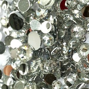 """100% Custom Made (Assorted) 2400 Wholesale Pieces of Mini Size """"Glue-On"""" Flatback Embellishments for Decorating, Made of Acrylic Resin w/ Shiny Iridescent Event Rhinestone Gem Cut Style {Clear}"""