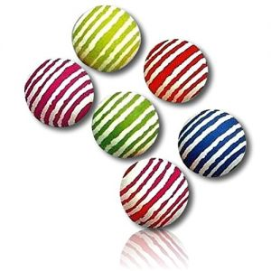 Custom & Unique {25mm} 36 Bulk Pack, Mid-Size Super High Bouncy Balls, Made of Grade A+ Rebound Rubber w/ Bright Neon Classic Rainbow Colorful Vibrant Abstract Fuzzied Stripes Pattern (Multicolor)