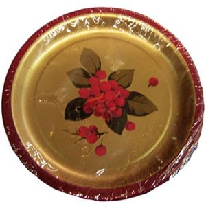 "Custom & Unique {7"" Inch} 8 Count Multi-Pack Set of Medium Size Round Circle Disposable Paper Plates w/ Festive Seasonal Holly Christmas X-Mas Celebration Event ""Gold, Red & Green Colored"""