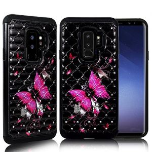 ZASE Case Compatible with Samsung Galaxy S9+ PLUS, Galaxy S9 PLUS Case Dual Layer Protection [Jewel Rhinestone] Shockproof Slim Hard Shell Sparkly Crystal [Bling Diamond] (Hot Pink Butterfly Flower)