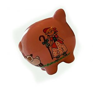 """Completely Custom {8"""" x 7"""" Inch} 1 Single Medium, Coin & Cash Bank Decoration for Holding Money, Made of Grade A Genuine Ceramic w/ Little Lamb & Girl Piggy Style {White, Pink, & Black}"""