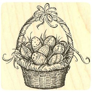 "{Single Count} Unique & Custom (3"" Inches) ""Easter Egg Basket Scene"" Square Shaped Genuine Wood Mounted Rubber Inking Stamp"