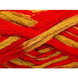 """Fabulous Crafts {128 Total Yards / 400g} 4 Skeins Pack of Durable"""" Size 6 Super Bulky Chunky Thick Roving"""" Yarn for Knitting, Crochet & More, Made of 100% Acrylic w/Flame Strands Style {Red & Gold}"""
