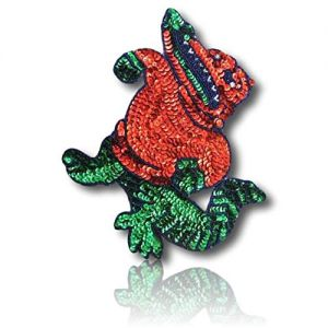 "Beautiful & Custom {8"" X 7.5"" Inch} 1 of [Sew-On & Glue-On] Embroidered Applique Patch Made of Sequins & Beads w/Brave Fearless Alligator Standing in Confident Upright Stance Style {Multicolored}"