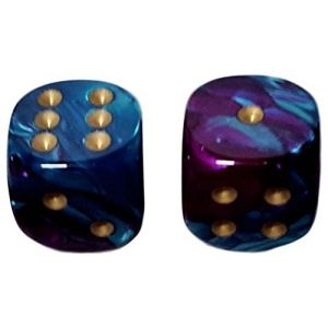 Custom & Unique {Large Size 20mm} 2 Ct Pack Set of 6 Sided [D6] Square Cube Shape Playing & Game Dice w/ Rounded Corner Edges w/ Fancy Agate Swirl Pearl Design Design [Blue, Purple & Gold]