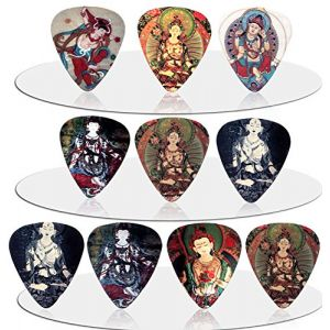 "Unique and Custom (1 MM Thick) Medium Gauge Hard Plastic, Traditional Style""Semi Tip"" Guitar Pick w/Religious Buddha Variety Assortment {Multicolored- Pack of 10 Picks}"