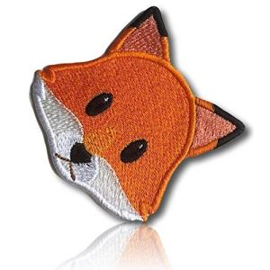 """[1 Count ] Custom and Unique (2.5"""" x 2.7"""" Inch) """"Animal"""" Emoji Young Loveable Cunning Sly Fox W/Triangle Ears & Big Eyes Emoticon Iron On Embroidered Applique Patch {Orange, Green, White Colors}"""
