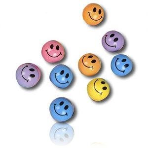Custom & Unique {27mm} 100 Bulk Pack, Mid-Size Super High Bouncy Balls, Made of Grade A+ Rebound Rubber w/ Polished Smooth Sheen Vintage Retro Classic Grinning Happy Smiley Faces Beaming (Multicolor)