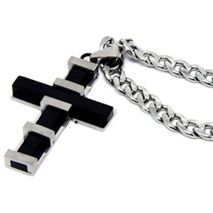 """Cool & Custom {Small 1.8 x 1.2"""" inch w/ 12"""" Chain Hang} Single Unit of Rear View Mirror Hanging Ornament Decoration Made of Stainless Steel w/ Religious Thick Cross [Mazda Black & Silver Colored]"""