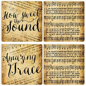 "Custom & Cool {4"" Inches} Set Pack of 4 Square ""Flat & Smooth Texture"" Large Drink Cup Coaster Made of Ceramic w/ Amazing Grace How Sweet The Sound Sheet Music Design [Colorful Tan & Black]"