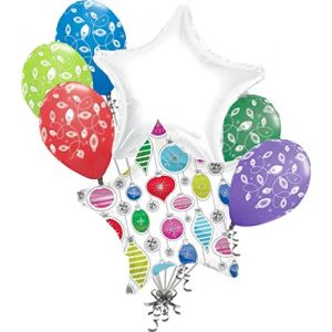 "Custom, Fun & Cool {Big Large 12"" - 18"" Inch} 7 Pack of Helium & Air Inflatable Mylar Foil/Latex Balloons w/ Christmas Ornament Star Design [Variety Assorted Multicolor in White, Red, Green & Blue]"