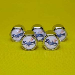Buycleverly Los Angeles Dodgers Metal Tire Valve Stem Caps Set / 5 Pcs for Cars Sedan SUVs Compacts Luxury Pickups Truck Motorcycles