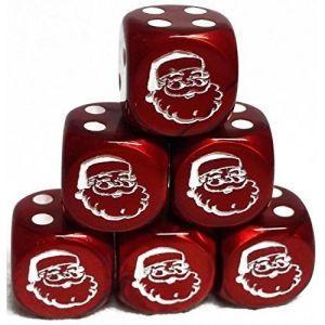 Custom & Unique {Standard Medium 16mm} 6 Ct Pack Set of 6 Sided [D6] Square Cube Shape Playing & Game Dice w/ Rounded Corner Edges w/ Christmas Santa Face Outline Design [Red & White]