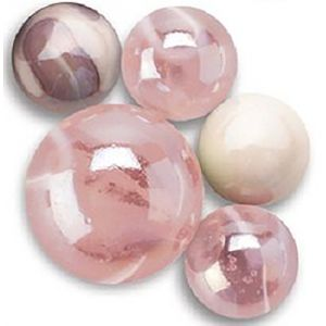 """Unique & Custom {5/8"""" Inch} Set Of 25 """"Round"""" Clear & Opaque Marbles Made of Glass for Filling Vases, Games & Decor w/ Pretty Iridescent Cute Pearly Design [Pink & White Colors] w/ 1 Shooter"""