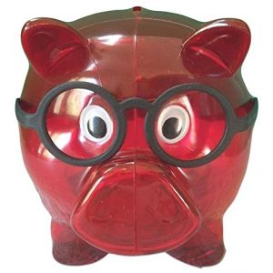 """Completely Custom {5"""" x 4"""" Inch} 1 Single Medium, Coin & Cash Bank Decoration for Holding Money, Made of Grade A Genuine Glass w/ Hole, Clear Crimson Piggy Style {Red, Black, & White}"""