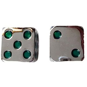 Custom & Unique {Standard Medium 15mm} 2 Ct Pack Set of 6 Sided [D6] Square Cube Shape Playing & Game Dice Made of Zinc Alloy Metal w/ Rounded Corner Edges w/ Classy Chrome Design [Silver & Green ]