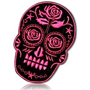 "Unique & Custom {2.25"" x 3.5"" Inch} 1 of [Glue-On, Iron-On & Sew-On] Embroidered Applique Patch Made of Natural Cotton w/Tribal Markings Voodoo Sugar Rose Flowers Skull {Black, Pink} + Certificate"