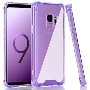 BAISRKE Galaxy S9 Case, Clear Purple Shock Absorption Flexible TPU Soft Edge Bumper Anti-Scratch Rigid Slim Protective Cases Hard Plastic Back Cover for Samsung Galaxy S9 (2018)